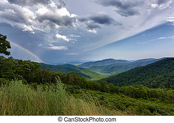 Storm over Blue Ridge Mountains - Storm sweeps over...