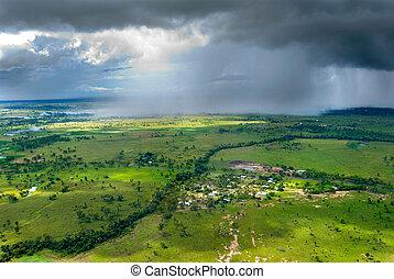 Storm over Gracemere - Rainstorm over Rockhampton, Central...