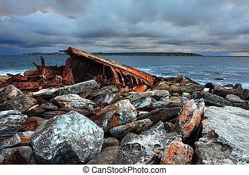 Storm over shipwreck at Sydney