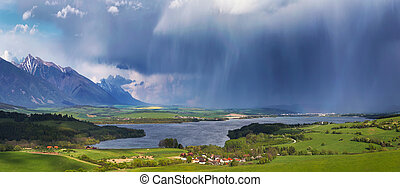 Storm over small village