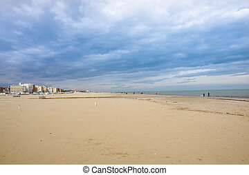 Storm over the beach in Rimini at Ialy