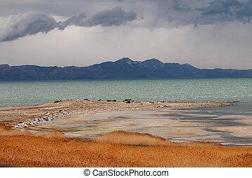 Storm over the Great Salt Lake in Utah.
