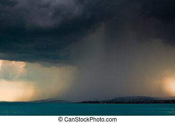 storm over the lake Balaton