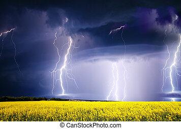 storm - summer storm beginning with lightning