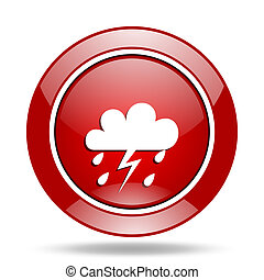 storm red web glossy round icon