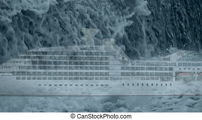 rogue wave falls on cruise ship - storm, rogue wave falls on...