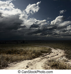 Storm - Rural road in field with wild herbs and dark storm ...