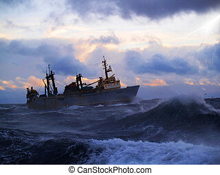 Sailor ship in storm
