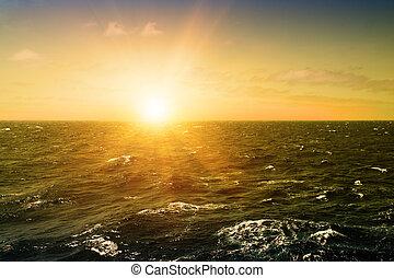 Storm sea in atlantic ocean