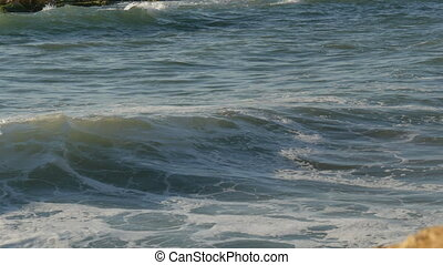 Storm sea waves with foam. Scenic Landscape of Restless Sea...