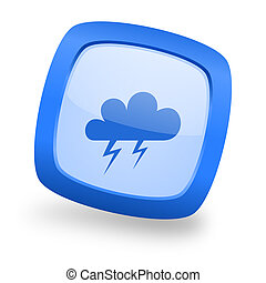 storm square glossy blue web design icon