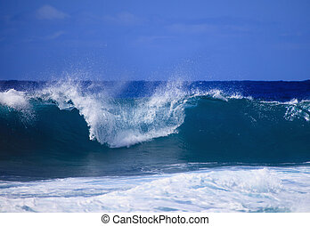 Storm surf surges against Oahu shor - Storm surf from an...