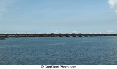Storm surge barrier - Eastern Schelde storm surge barrier in...