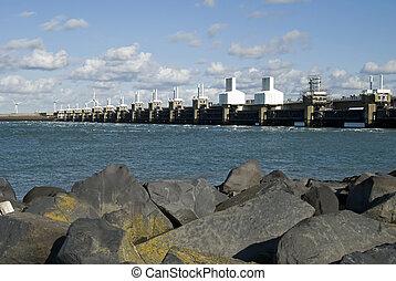 Storm surge barrier in Zeeland, Netherlands. Build after the...