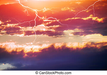 storm thunderstorm at sunset