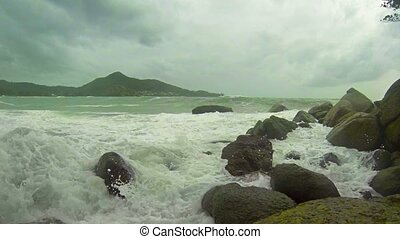 Storm tropical sea. Waves and rocks