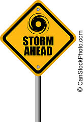Storm warning sign, vector illustration