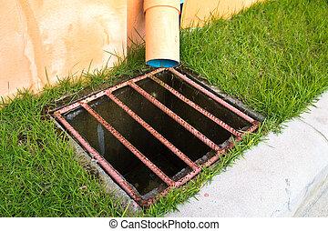 Storm water drain near around grass