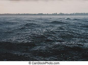 Storm vawe on water of river on hard rain