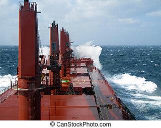 Storm wave breaks on Board the vess - ocean wave breaks on...