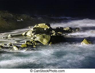 storm waves at night