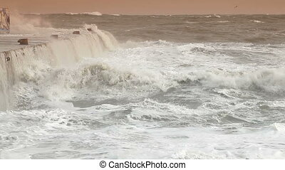 Storm Waves Crashing Over Pier