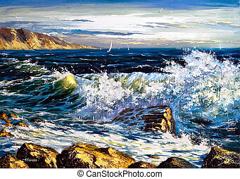 Storm waves on seacoast and soaring the seagull