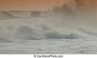 Storm Waves Smashing Against Breakwaters Alushta, Crimea,...