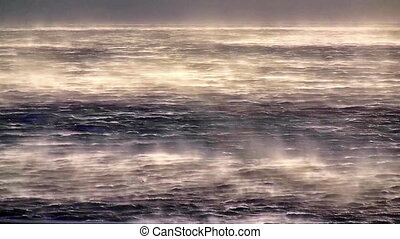 Storm wind on sea