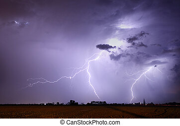 Storm with lightning in landscape