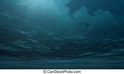 storm with undersea angle by 3D rendering scene