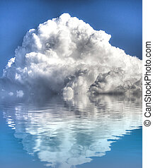 Storm with water reflection. A sky of clouds reflected in a calm sea.