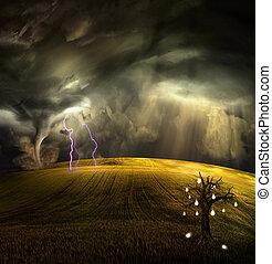stormachtig, boom fruit, concepten, grows, landscape