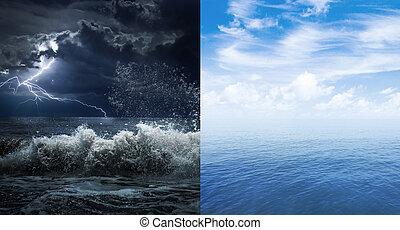 stormachtig, en, kalm, zee, of, oceaan, oppervlakte