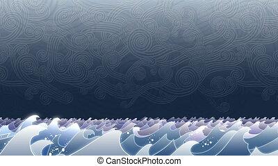 stormachtig, golven