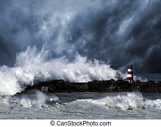 stormachtig, golven, tegen, zeebaken