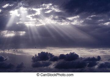 stormfulde, sol, overgang, himmel, grumset, igennem, stråle
