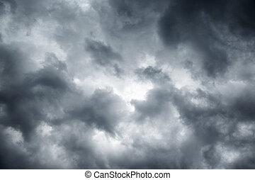 stormig, grå, mulen himmel