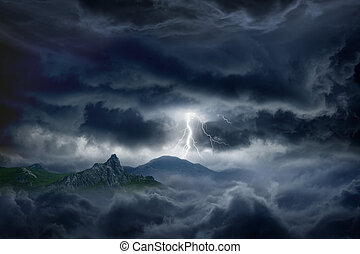 stormig himmel, blixt, fjäll