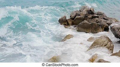 Storming Seacoast Rocks - Beautiful blue sea waves storming ...