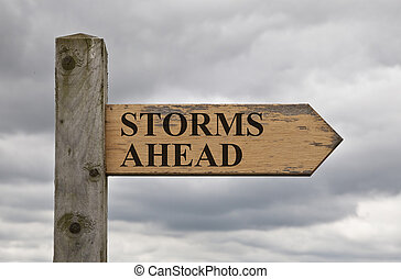 Storms Ahead Wooden Sign