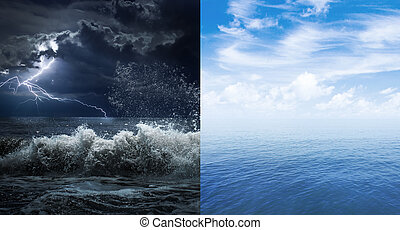 stormy and calm sea or ocean surface