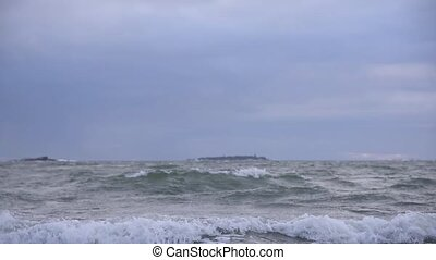 Stormy Baltic Sea in early January winter weather