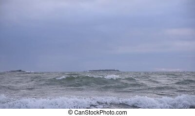 Stormy Baltic Sea in early January winter weather in slow motion