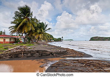 Stormy beach - After the storm on the island of Grenada