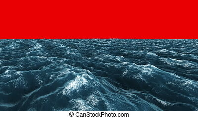 Stormy blue ocean under red screen