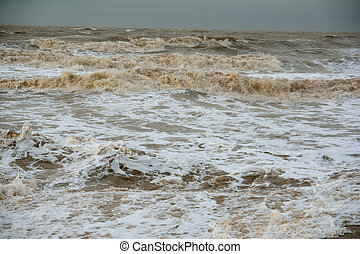 Stormy churned up sea