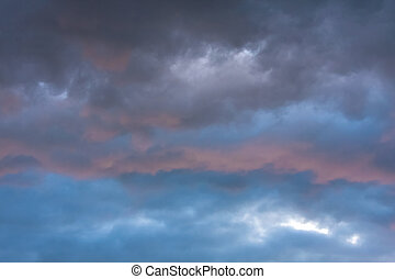 Stormy clouds in dramatic sky - Natural dramatic sky with...