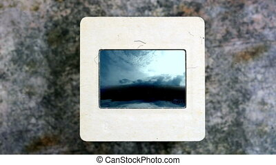 Stormy Clouds Over Dark Ocean on vintage slide film