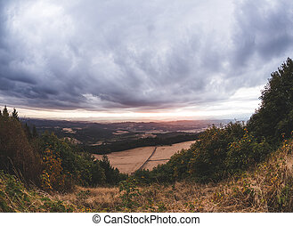 Stormy Clouds Over Farm Land Countryside